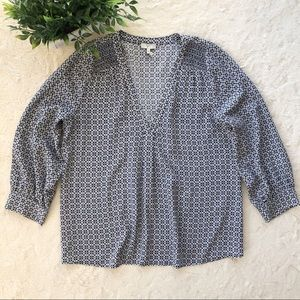 Joie blue gray silk tunic ruched blouse medium